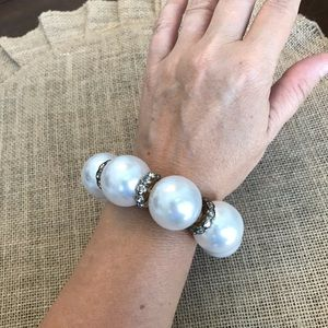 Bulky Faux Pearl and Crystal Bracelet